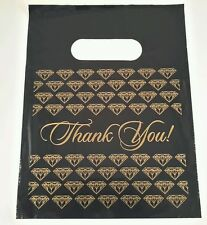 "100 7x9"" PLASTIC BLACK  jewelry Thank You gift Bag (sm)"