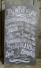 My Wish For You Black & White Wood Chalkboard Sign Small (up to 14in) Sweet!