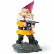 Big Mouth Angry Gnome 9'' Funny Novelty Scarface Machine Gun Yard Figure