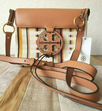 TORY BURCH Miller Stripe Cross-Body Striped Leather/Fabric Plaid Double Weave