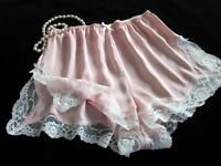 Lacy Pink Satin French Knickers NEW All Sizes Silky Drapey Panties Vintage Style
