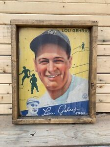 Rustic Style Direct Print to Wood 1934 Goudey Lou Gehrig 12x14 ! WOW