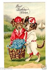 POSTCARD DRESSED DOGS GERMAN SERIES 3558 BIRTHDAY WISHES IN ENGLISH EMBOSSED