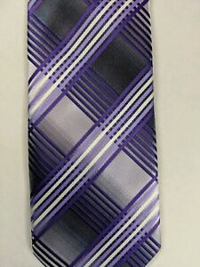 Stacy Adams Purple and Grey Mens Neck Tie Microfiber