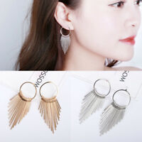 Fashion Women Gold/Silver Long Tassel Ear Stud Drop Dangle Earrings Jewelry