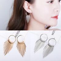 Fashion Women Gold/Silver Long Tassel Ear Stud Drop Dangle Earrings Jewelry
