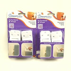 Dreambaby Child Safety Furniture Wall Safety Strap, Adjustable Bulk 2x 2-Pack