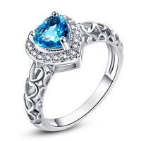 Fashion Heart Cut Blue & White Topaz Gemstone Silver Ring Size 6 7 8 9 10 11 12