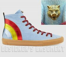 GUCCI 11G blue denim MAJOR Rainbow ANGRY CAT high top Sneakers NIB Authentc $630