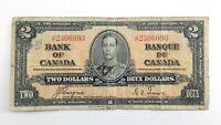 1937 Canada Two Dollar JR Prefix Circulated George VI Canadian Banknote J805