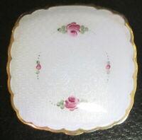 Vintage Gold Fill La Mode Compact Pink Green Flower Enamel Floral Powder Vanity