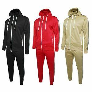 Mens Tracksuit Side Striped Fleece Zip Up Hoodies Sweatshirt Jogging Gym Running