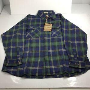 Schmidt Men's Size 2XL Long Sleeve Plaid Blue Green Heavy Flannel Shirt NWT