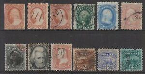 USA 1850s / 60s selection, incl #35, #64b, #69, #113