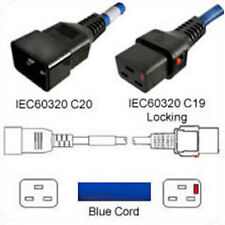 Power Mains  IEC C20 to IEC Lock Locking Cable C19 Blue 3m 3 metres