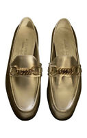 Burberry solway light gold chain Women's loafer 37.5 NIB