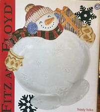 New Fitz and Floyd Frosty Folks Canape' Plate Snowman Plate, Wall Decor