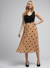 Dorothy Perkins Womens Beige Spot Print Pleated Midi Skirt Polka Dot