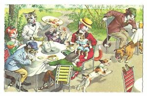 Mainzer postcard Dressed Cats outdoor cafe restaurant # 4961 scalloped edges