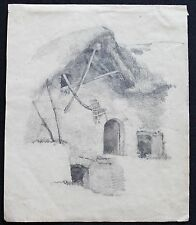 Drawing French Cottage  by Louis Adolphe HERVIER (1818-1879) French School
