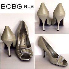 BCBGirls Open Toe Slip On Heels Size 7.5 Womens Metallic Silver Buckle Top