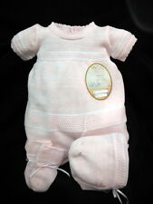 NWT Will'beth Pink White Knit 3p Romper Newborn Baby Girls Bonnet Booties
