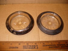 2 Vintage Frank M. Whiting Sterling Silver Rimmed Glass Drink Coasters R40