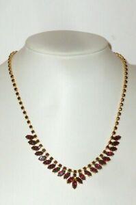 Alte Kette Halskette Steinkette Granaten ? Collier rote Steine chain Rubine Gold