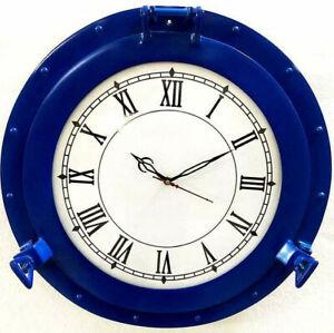 """Antique Marine 20"""" Blue Ship Porthole Nautical Wall Mounted Clock Christmas Gift"""