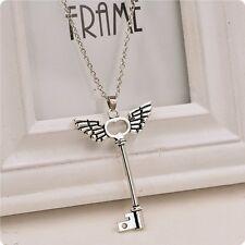Women Angel Wings Key Silver Pendant Necklace Long Sweater Chain Gift Friendship