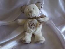 Doudou ours écru et beige, écharpe, Pommette