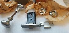 VTG Antique NOS Door Lock Latch Russwin Nickel Chrome Set Woburn Mortise