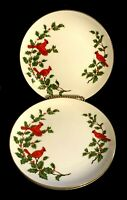 Lefton China 3 Cardinals Salad Plates # 04533 Geo Lefton 1984 Holly & Berry