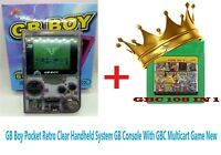 GB Boy Pocket Retro Clear Handheld System GB Console With GBC Multicart Game New