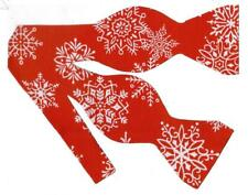 Christmas Bow tie / Large White Snowflakes on Holiday Red / Self-tie Bow tie