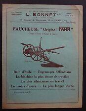 Catalogue publicité Machine agricole L. BONNET Paris faucheuse FAHR tracteur