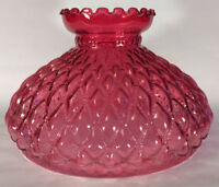 "NEW 10"" Cranberry Oil Kerosene Glass Diamond Quilted Student Lamp Shade #SH407"