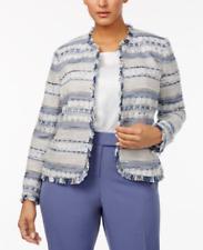 Anne Klein Open Front Tweed Blazer Harbor Blue White 0X NWT $169 Sislou T14