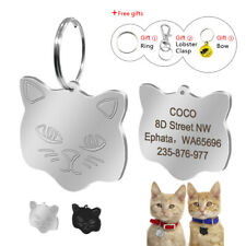 Personalized Pet Cat ID Tags Cute Cat Face Collar Name Disc Engraved with Bell