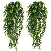 1X(2Pcs Artificial Trailing Plants Fake Hanging Plants Faux Foliage Greenery