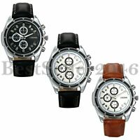 Business Quartz Watches Leather Strap Sports Fashion Analog Wrist Watch Men's