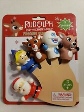 Rudolph The Red Nosed Reindeer Finger Puppets 5 Piece Set NEW