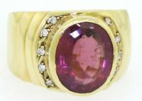 GIA $6550 6ctw Red Purple Rubellite Tourmaline Diamond Ring Heavy 10.5g 18K Gold