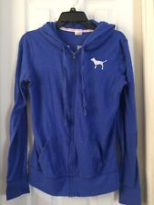 """Victoria's Secret """"pink"""" Blue hoodie Text """"Warm Me Up"""" Size Small"""