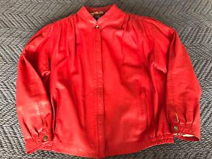 Vintage 80s Richards Red Real Leather Jacket Ladies