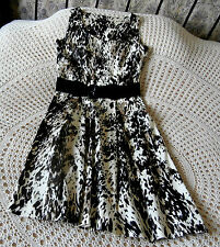 Cotton party dress by M & Co Size 10 Deep cream brown & black