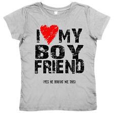 "Funny Ladies T-Shirt ""I Love Heart My Boyfriend"" Women's Valentine's Birthday"