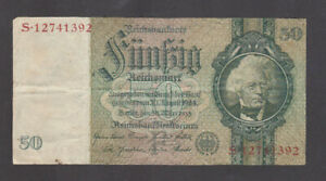 50 REICHSMARK FINE BANKNOTE FROM GERMANY 1933 PICK-182a