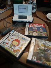 Nintendo DS Lite White Handheld System w/ Case, Plug, 3 Games-Scribblenauts