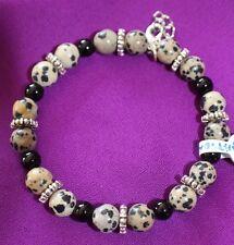 Bracelet Dalmatian Jasper Black Onyx Gemstone Bead  Memory Wire, Safety Clasp